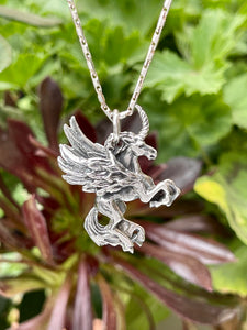 Winged unicorn sterling silver 3D pendant