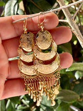Peruvian vintage style crescent 3 tier chandelier earrings in 18kt yellow gold plate