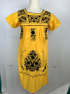 Huipil bordado traditional Mexican dress size 10-12 yellow