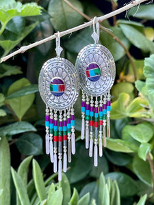 Native style multicolor fringed dangle earrings in sterling silver