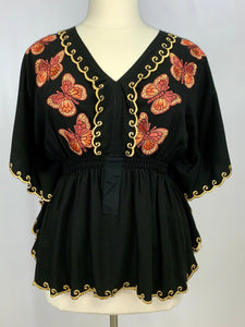 Monarca embroidered angel blouse in black rayon
