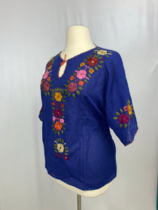 Plus size handmade traditional Mexican Blouse Royal Blue