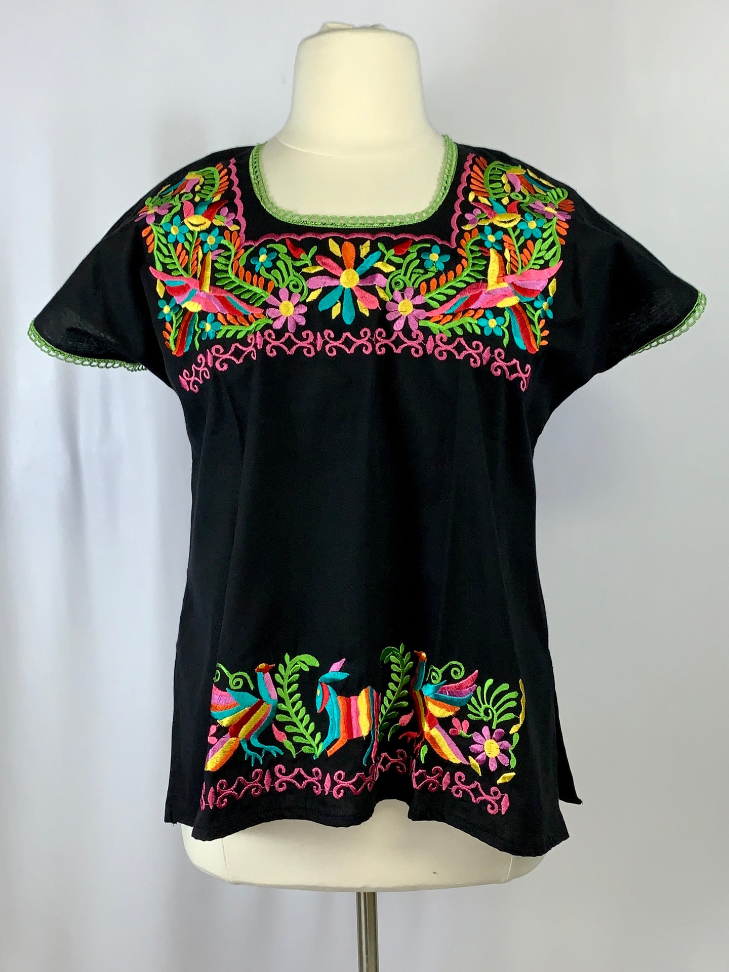 Stylized huipil in Otomi embroidery one of a kind