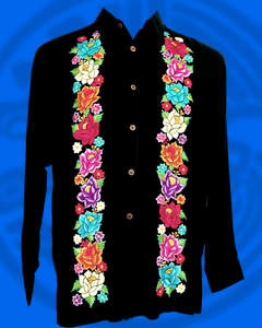 Button down long sleeve double panel multicolor floral embroidery on black rayon.