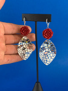Bedazzling rose dangle statement earrings in sterling silver and CZ large