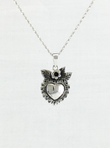 Heart blossoms milagro style heart pendant in sterling silver medium