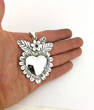 Heart blossoms milagro style heart pendant in sterling silver small
