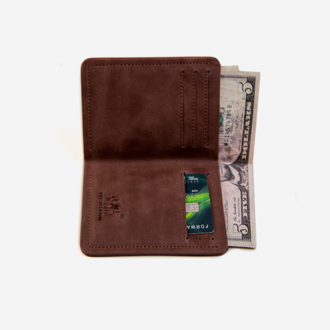 BISON DENIM Chocolate Vintage Slim Wallet