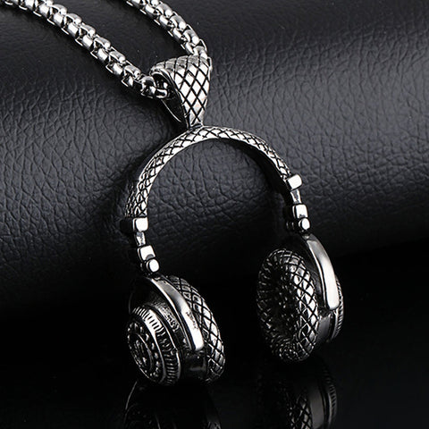 Men Necklace Stainless Steel Music Headphone Pendant