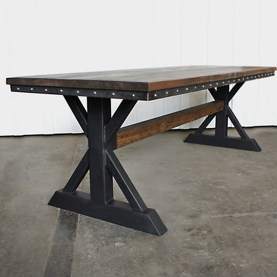 Vintage Industrial Table, Modern Industrial Table, Trestle Table, Table With Wood Beam Trestle, Farm House Table, Farm Table, Mission Table