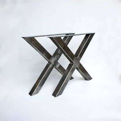 Steel Table Legs, 3x3 X base Table Legs, Slab Table Legs,