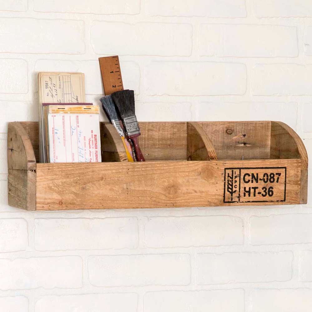 Wood Crate Display with Three Pockets