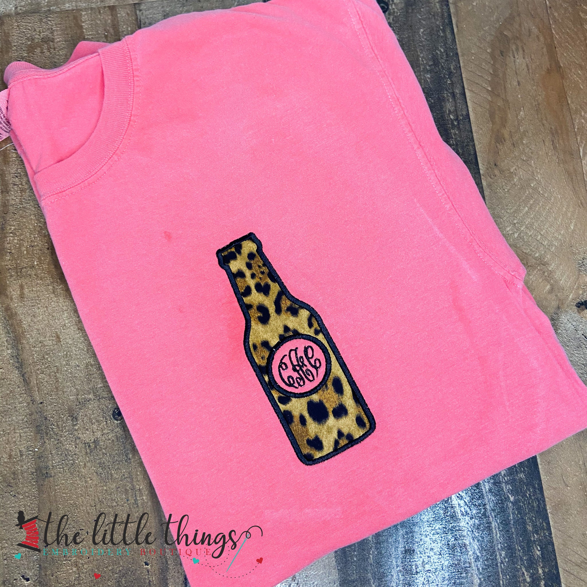 Leopard Beer Bottle Monogram Applique Shirt or Sweatshirt