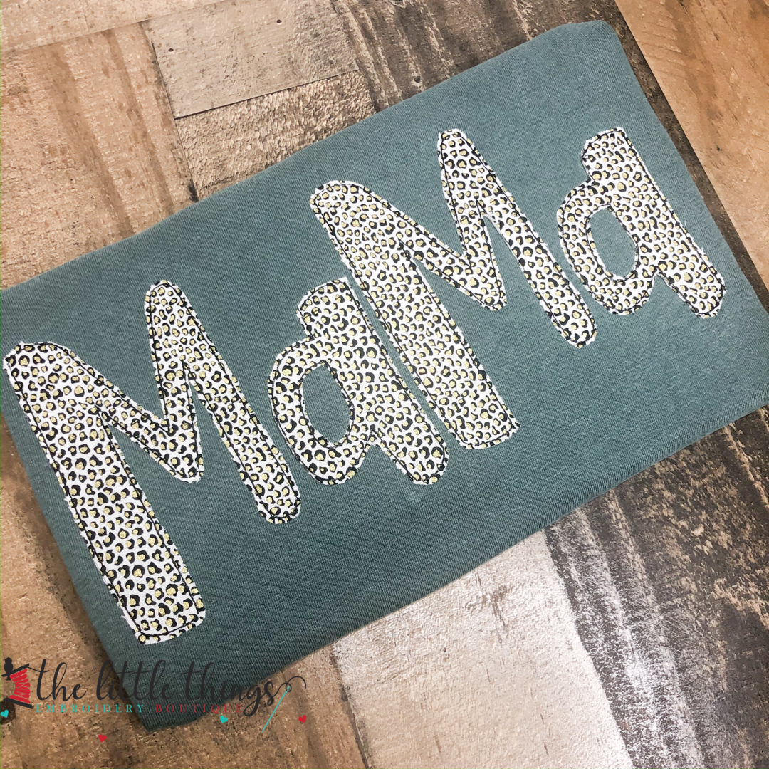 Metallic Leopard Name Applique Shirt
