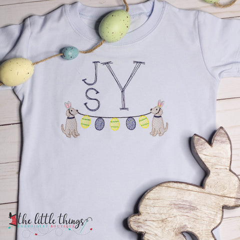 Boys Easter Dog Sketch with Monogram
