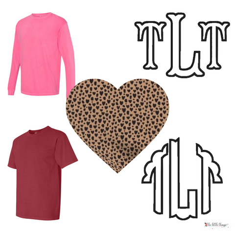 Valentine's Cheetah Applique Monogram  Shirt