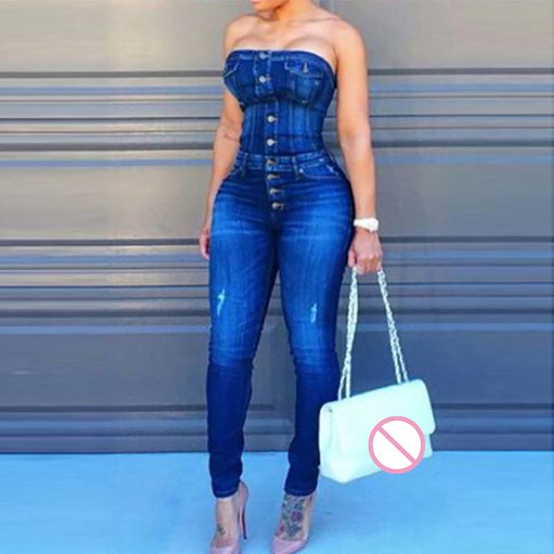49d2f7b49d3d Sexy Button Up Off Shoulder Denim Overalls Skinny Jumpsuits For Women 2018  Plus Size Playsuit Casual