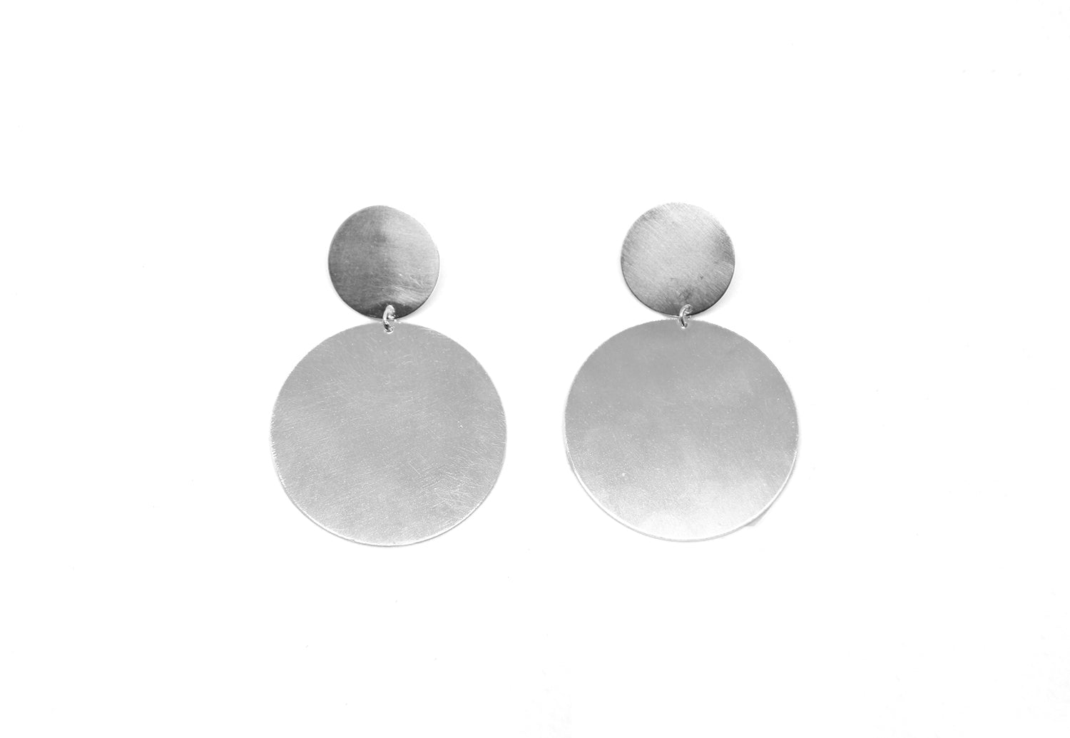 llayers jewelry dangly silver circles earrings gravity boucles d'oreilles pendantes cercles argent