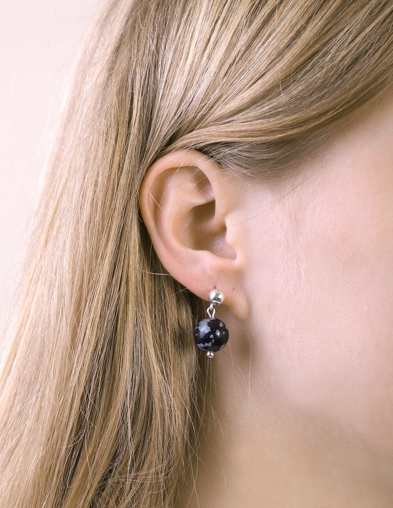 llayers jewelry dangly earrings magnetic obsidian stone boucles oreilles pierre obsidienne