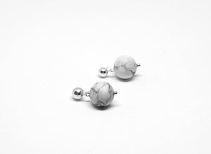 llayers jewelry dangly silver earrings howlite orbit boucles oreilles pierre