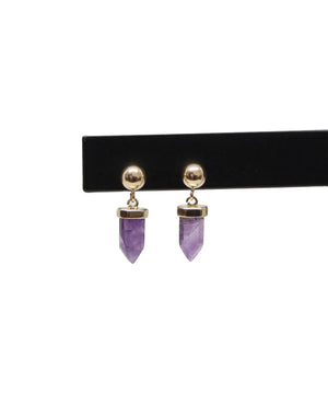 llayers jewelry gold earrings with amethyst healing stone, boucles d'oreilles en or avec pierre d'améthyste
