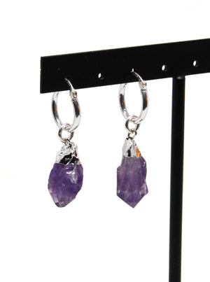llayers jewelry silver hoops earrings with amethyst healing stone, boucles d'oreilles créoles argent avec pierre d'améthyste