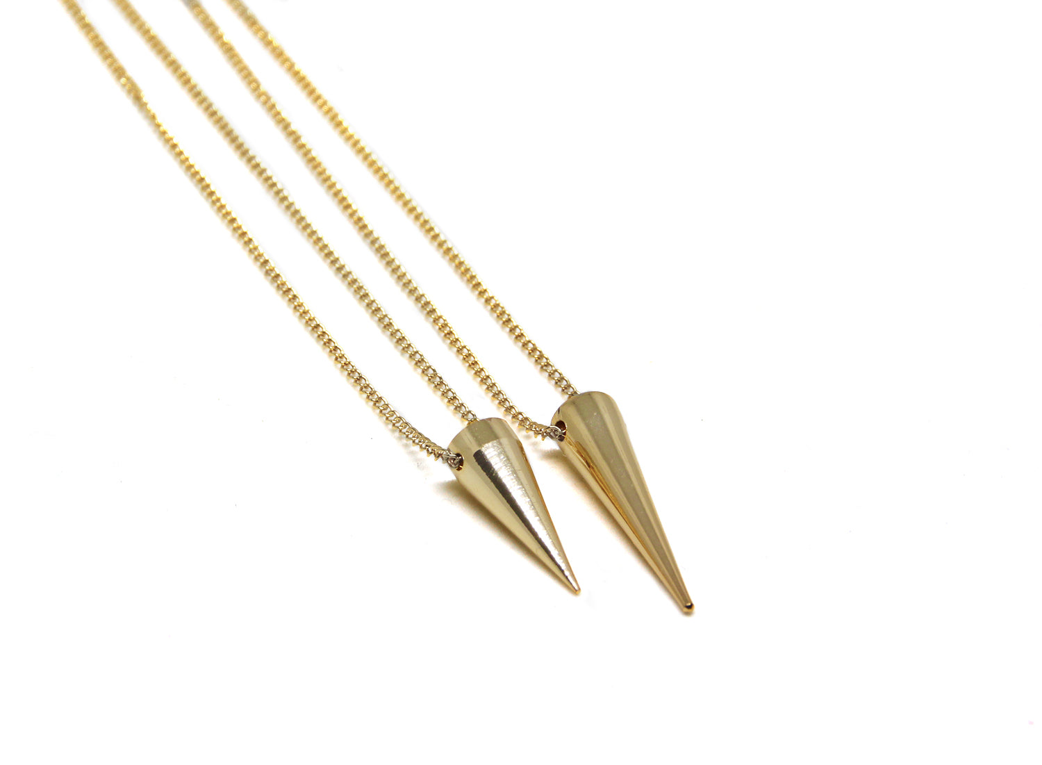 llayers jewelry necklace gold punk spike collier pointe or a