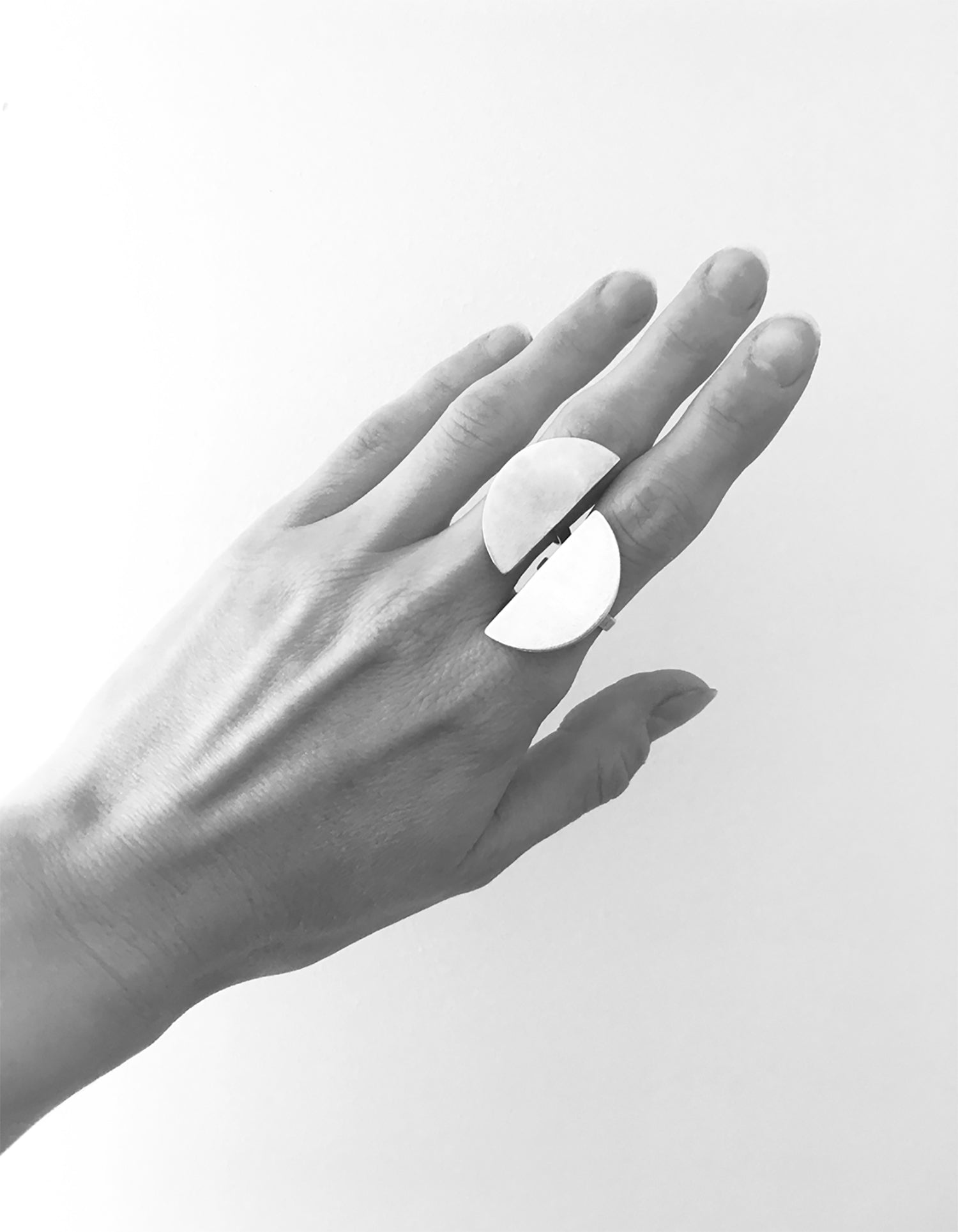 bague llayers quarter argent - llayers jewelry quarter ring in silver - minimal moon ring