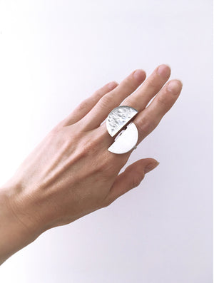 llayers jewelry ring quarter plato lunar silver- bague llayers plato quarter lune geometric géométrique