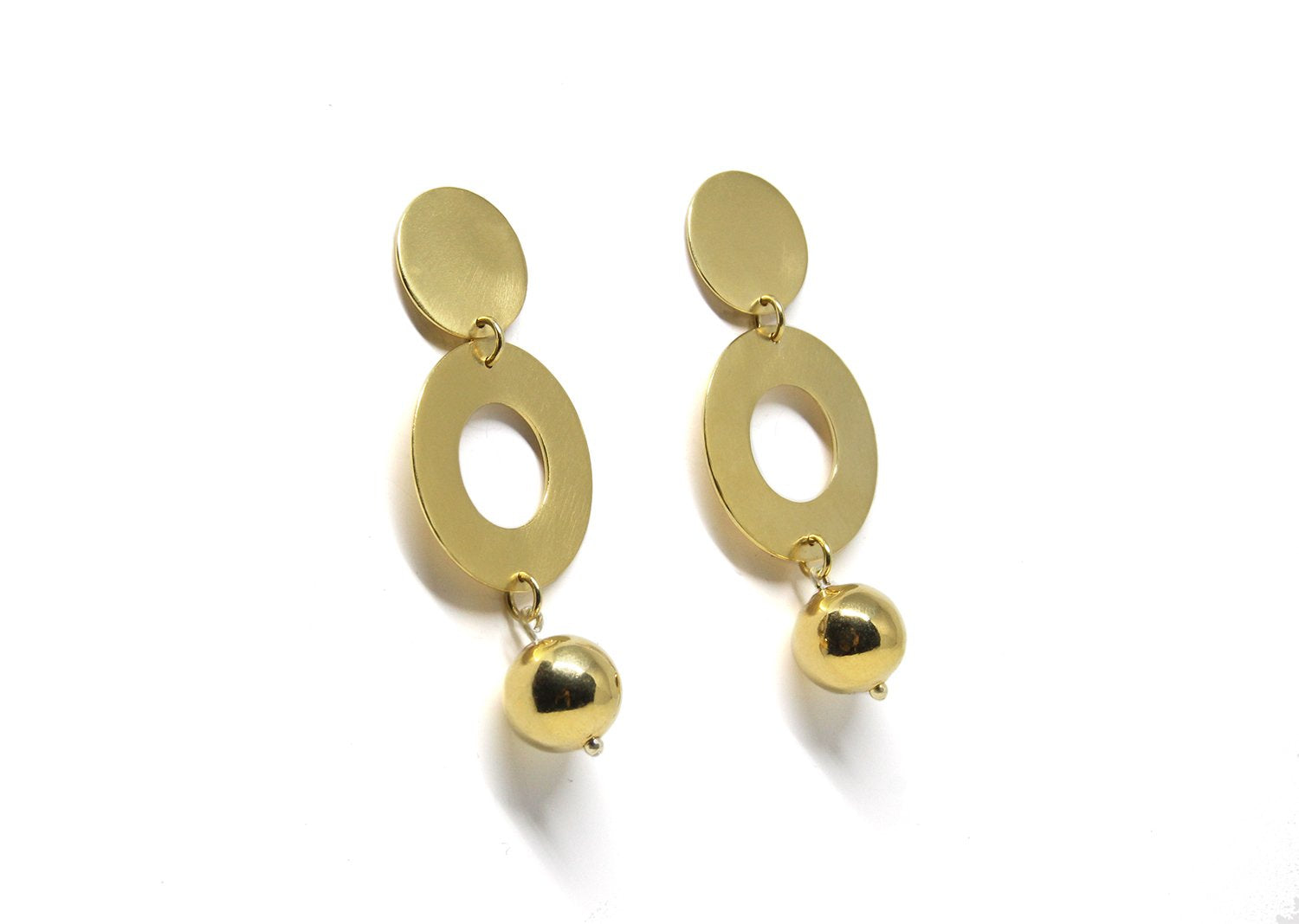 llayers jewelry dangly gold plated sphere earrings satellite bijoux boucles oreilles pendantes boule or