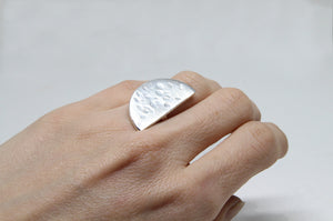 llayers jewelry ring quarter plato lunar silver - bague llayers plato quarterlune geometric géométrique