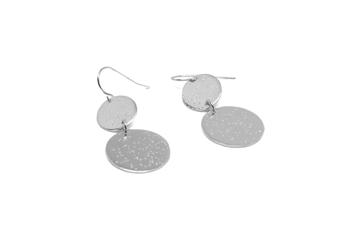 llayers dangly moon texture earrings silver- boucles d'oreilles made in france faites main lune argent