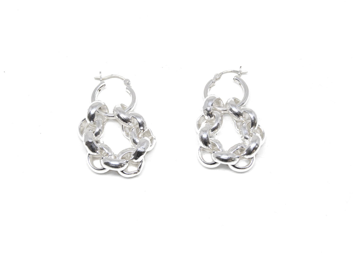llayers jewelry infinity + interlaced silver hoops earrings- boucles d'oreilles créoles avec cercles entremêlés en argent