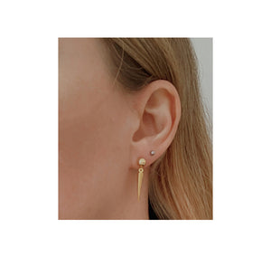 llayers jewelry long spikes gold hoops earrings- boucles d'oreilles longs clous or