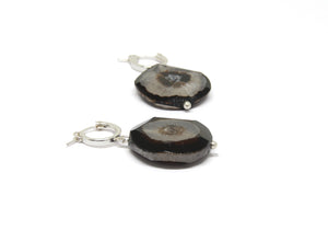 llayers jewelry earrings black agate bijoux boucles d'oreilles agate noire talisman