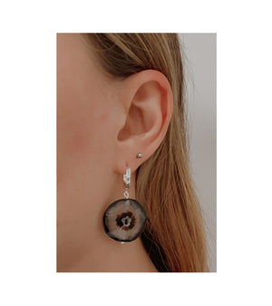 llayers jewelry stones earrings black agate bijoux  boucles d'oreilles pierres agate noire lithothérapie talisman