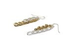 llayers boucles d'oreilles créateur chaines bicolores  jewelry dangly bicolor chain link earrings
