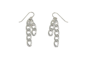 llayers boucles d'oreilles chaines  jewelry dangly chain link earrings silver