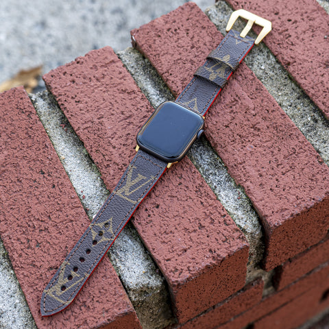 Louis Vuitton Apple Watch Band With Red Edging - CustomizerDepot