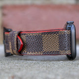 Louis Vuitton Damier Ebene Apple Watch Band (Red Edge) - CustomizerDepot