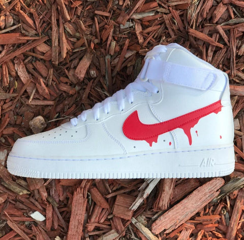 "Nike Air Force 1 High ""Red Drip"" - CustomizerDepot"