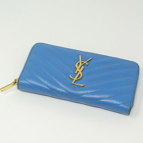 YSL Light Blue Zippy Wallet - CustomizerDepot