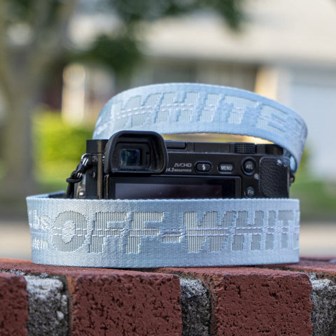 Light Blue Off White Camera Strap - CustomizerDepot