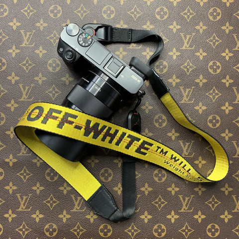 Authentic Re-purpose Yellow Off White Camera Strap