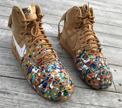 "Nike Air Force 1 ""Wheat & Splatter"" - CustomizerDepot"