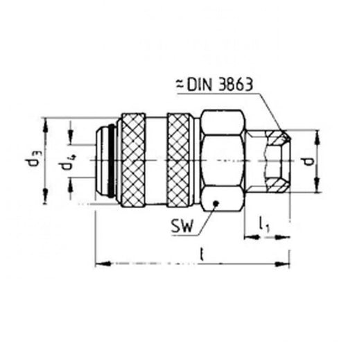 "Coupler Body With G3/8"" Male Thread 13 Series European"
