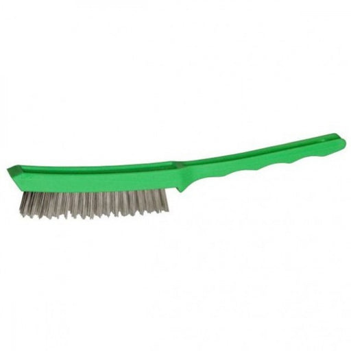 4 ROW Stainless Steel Scratch Brush Green Plastic Handle 225223