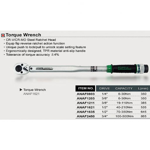 Torque Wrench 1/4dr 6-30Nm Toptul  ANAF0803