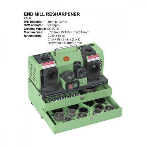 GS-6 END MILL RESHARPENER 3-12mm CAPACITY 2, 3, & 4FL