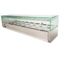 1800mm Benchtop Saladette Pizza Showcase Commercial Fridge 8 trays